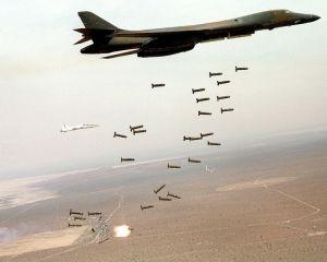 U.S. B1-B Lancer drops cluster bombs