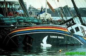 Rainbow Warrior in Auckland Harbour after bombing