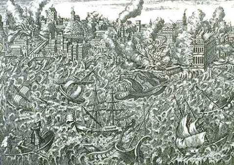 Ruins of Lisbon in flames and a tsunami overwhelming the ships
