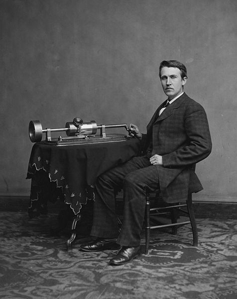 Photograph of Edison with his phonograph, taken by Mathew Brady in 1877