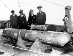 The B28RI nuclear bomb on the deck of the USS Petrel