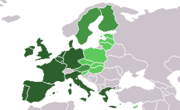 Newly countries in light green