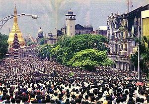 Protesters gathering in central Rangoon, 1988