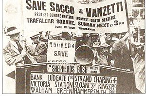 Protest to save Sacco and Vanzetti in London, England in 1921