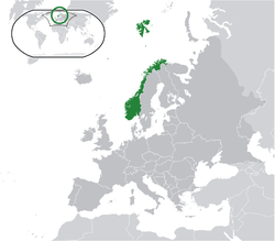 Norway  (green)  on the Europe