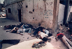 Aftermath of massacre of Palestinians